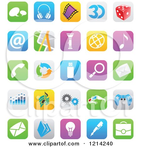 Clipart of IOS 7 Styled Interface App Icons 2 - Royalty Free Vector Illustration by cidepix