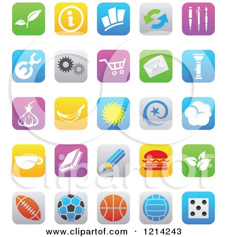 Clipart of IOS 7 Styled Interface App Icons - Royalty Free Vector Illustration by cidepix