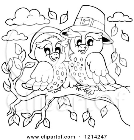 Clipart of an Outlined Owl Thanksgiving Pilgrim Couple - Royalty Free Vector Illustration by visekart