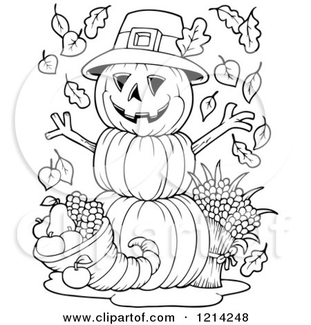 clipart of an outlined thanksgiving pumpkin man with a Cartoon Pumpkin Clip Art Cute Pumpkin Clip Art
