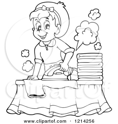Clipart of a cartoon happy housewife ironing laundry for Laundry coloring pages