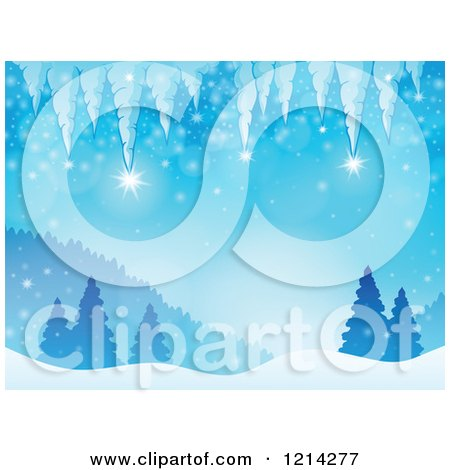 Clipart of a Background of Winter Icicles over Snowy Hills and Evergreen Trees - Royalty Free Vector Illustration by visekart