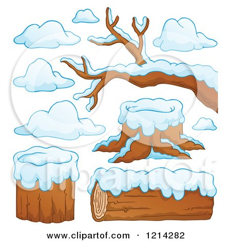 Clipart of Winter Logs Stumps and Branches with Snow - Royalty Free Vector Illustration by visekart