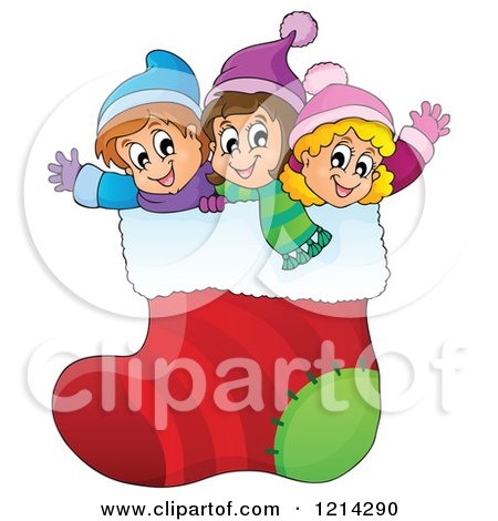 Clipart of Happy Cartoon Children Waving in a Giant Christmas Stocking - Royalty Free Vector Illustration by visekart