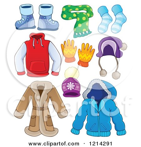 Clipart of Winter Clothing Apparel and Accessories - Royalty Free Vector Illustration by visekart