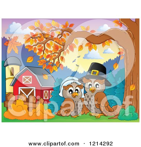 Clipart of an Owl Thanksgiving Pilgrim Couple by a Barn - Royalty Free Vector Illustration by visekart