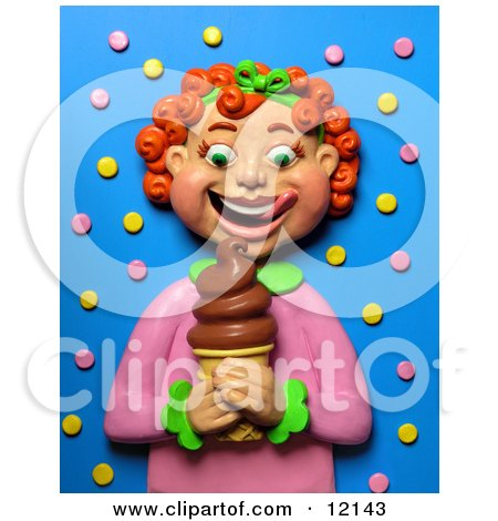 Clay Sculpture Clipart Red Haired Girl Smiling At A Chocolate Ice Cream Cone - Royalty Free 3d Illustration  by Amy Vangsgard