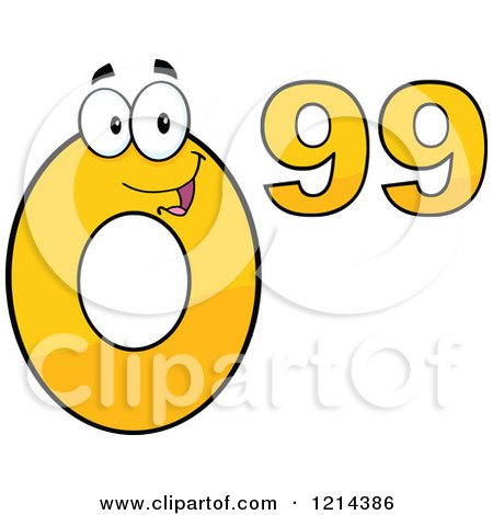 Cartoon of a Yellow Ninety Nine Cent Mascot - Royalty Free Vector Clipart by Hit Toon