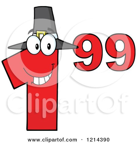 Cartoon of a Red Thanksgiving Dollar Ninety Nine Cent Mascot - Royalty Free Vector Clipart by Hit Toon