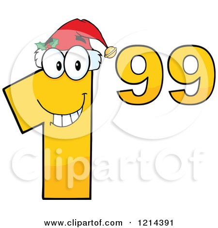 Cartoon of a Yellow Christmas Dollar Ninety Nine Cent Mascot - Royalty Free Vector Clipart by Hit Toon