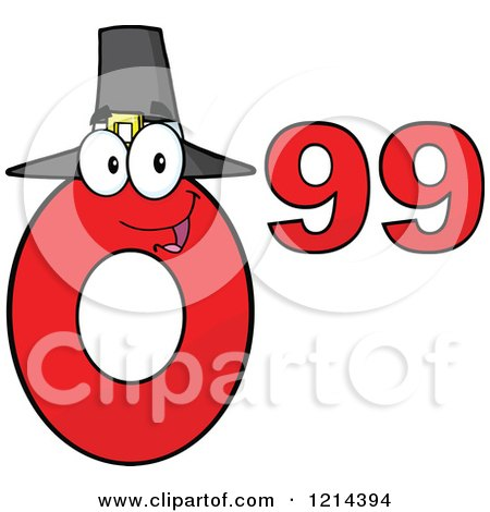 Cartoon of a Red Thanksgiving Ninety Nine Cent Mascot - Royalty Free Vector Clipart by Hit Toon