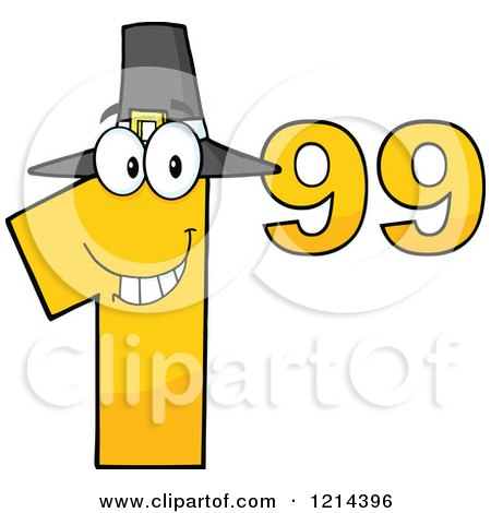 Cartoon of a Yellow Thanksgiving Dollar Ninety Nine Cent Mascot - Royalty Free Vector Clipart by Hit Toon