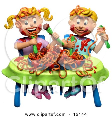 Clay Sculpture Clipart Boy And Girl Making A Mess During A Spaghetti Dinner - Royalty Free 3d Illustration  by Amy Vangsgard