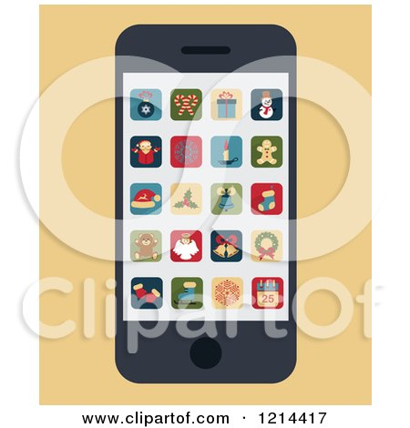 Clipart of a Smartphone with Christmas Apps on the Screen - Royalty Free Vector Illustration by Eugene