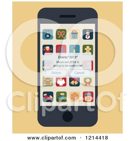 Clipart of a Smartphone with a Delete 2013 Pop up and Christmas Apps on the Screen - Royalty Free Vector Illustration by Eugene