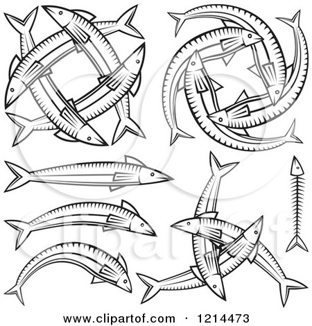 Clipart of Black and White Fish Designs - Royalty Free Vector Illustration by Any Vector