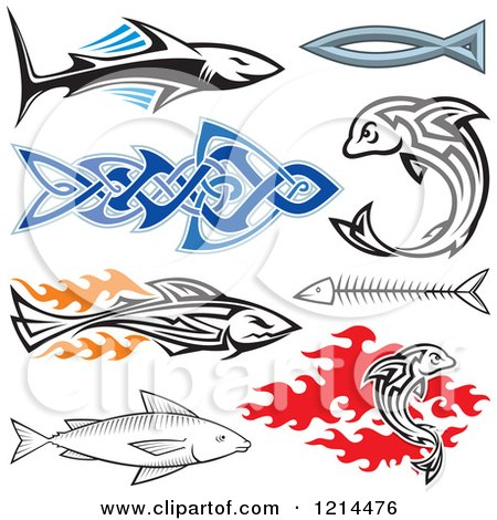 Clipart of a Tribal Sharks and Fish - Royalty Free Vector Illustration by Any Vector