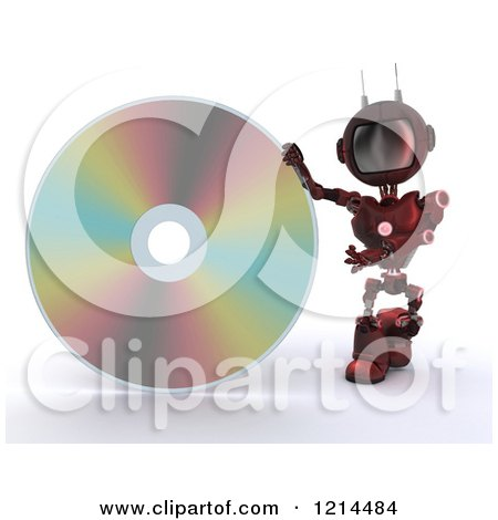 Clipart of a 3d Red Android Robot Presenting a Giant Dvd - Royalty Free CGI Illustration by KJ Pargeter