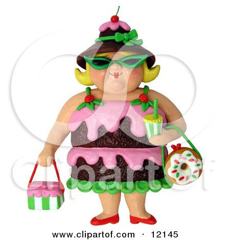 Clay Sculpture Clipart 3d Chocolate Cake Woman Wearing Shades - Royalty Free 3d Illustration  by Amy Vangsgard