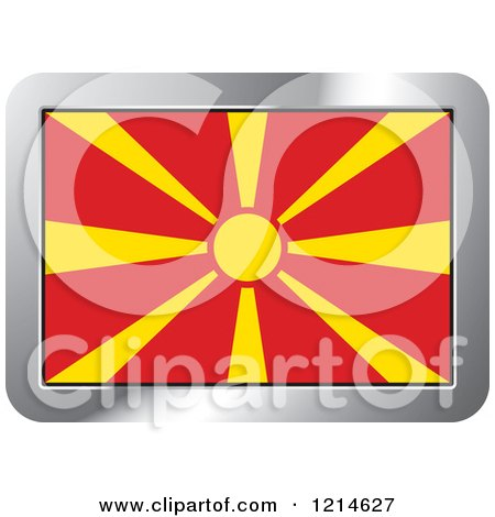 Clipart of a Macedonia Flag and Silver Frame Icon - Royalty Free Vector Illustration by Lal Perera