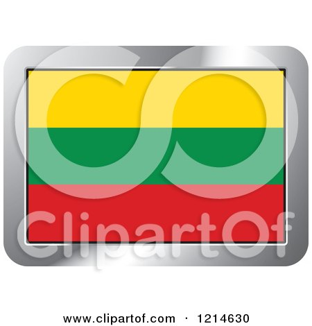 Clipart of a Lithuania Flag and Silver Frame Icon - Royalty Free Vector Illustration by Lal Perera