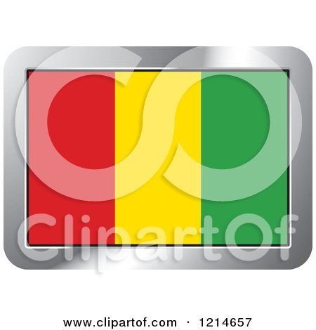 Clipart of a Guinea Flag and Silver Frame Icon - Royalty Free Vector Illustration by Lal Perera