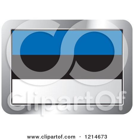 Clipart of an Estonia Flag and Silver Frame Icon - Royalty Free Vector Illustration by Lal Perera