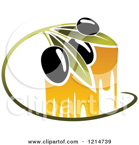 Clipart of Black Olives with Leaves and Oil Drops 2 - Royalty Free Vector Illustration by Vector Tradition SM
