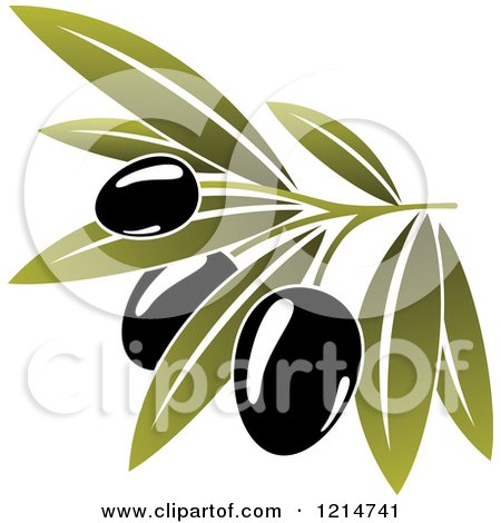 Clipart of Black Olives with Leaves 3 - Royalty Free Vector Illustration by Vector Tradition SM