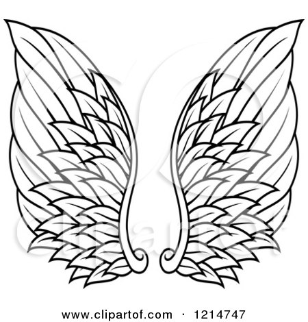 Clipart of a Pair of Black Feathered Wings 14 - Royalty Free Vector Illustration by Vector Tradition SM