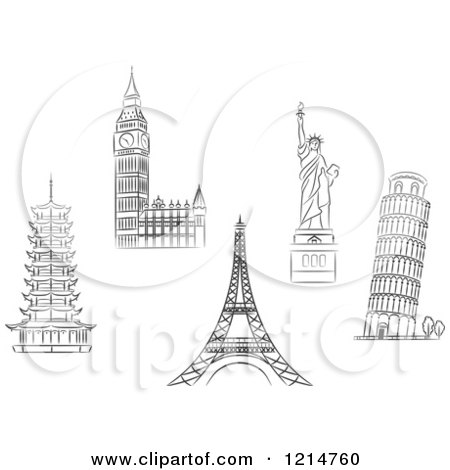 Clipart of Black and White Sketched Architectural Monuments and Landmarks - Royalty Free Vector Illustration by Vector Tradition SM
