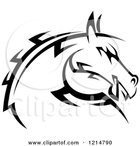 Clipart of a Black and White Tribal Horse Head 2 - Royalty Free Vector Illustration by Vector Tradition SM