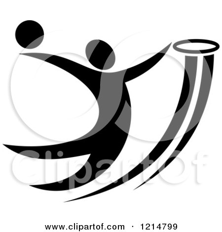 Clipart of a Black and White Basketball Player Slam Dunking 2 - Royalty Free Vector Illustration by Vector Tradition SM
