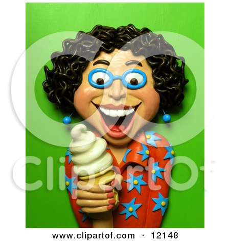 Clay Sculpture Clipart Happy Woman Holding A Vanilla Ice Cream Cone - Royalty Free 3d Illustration  by Amy Vangsgard