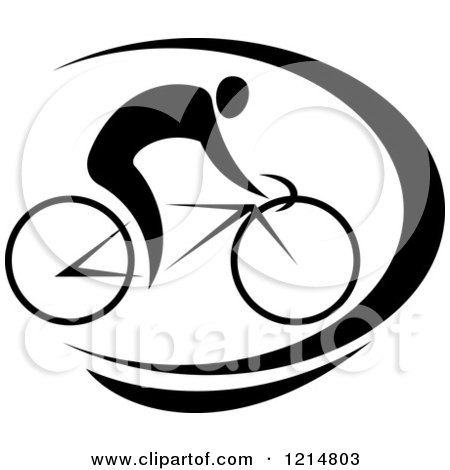 Clipart of a Black and White Cyclist Riding a Bike - Royalty Free Vector Illustration by Vector Tradition SM