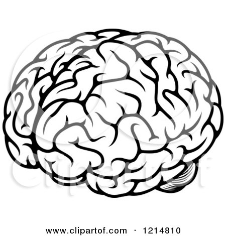 Clipart of a Black and White Human Brain 3 - Royalty Free Vector Illustration by Vector Tradition SM