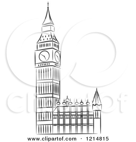 Clipart of a Black and White Sketched Big Ben Clock Tower ... | 450 x 470 jpeg 23kB