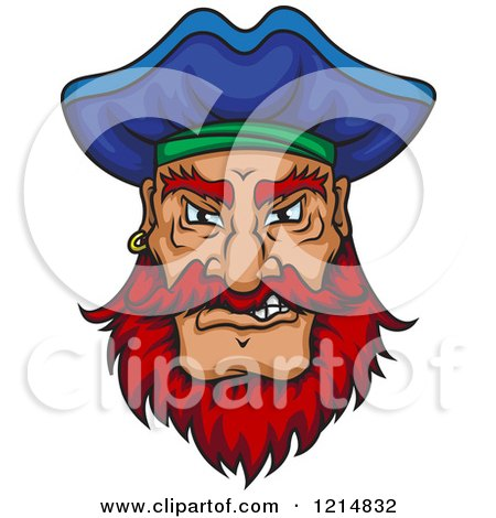 Clipart of a Mad Pirate with a Blue Hat and Red Facial Hair - Royalty Free Vector Illustration by Vector Tradition SM