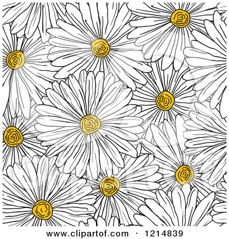 Clipart of a Seamless White Daisy Flower Pattern - Royalty Free Vector Illustration by Vector Tradition SM