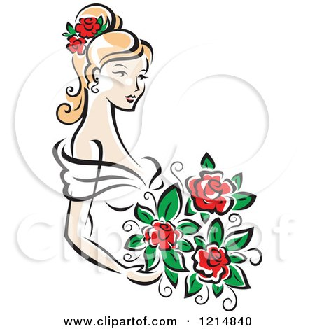 Clipart of a Blond Bride with Red Roses - Royalty Free Vector Illustration by Vector Tradition SM