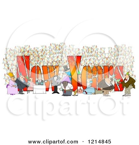 Clipart of People Having Fun at a New Year Party with Text - Royalty Free Illustration by djart