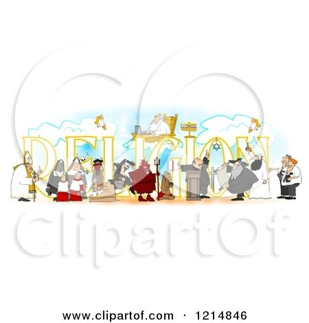 Clipart of People over RELIGION - Royalty Free Illustration by djart