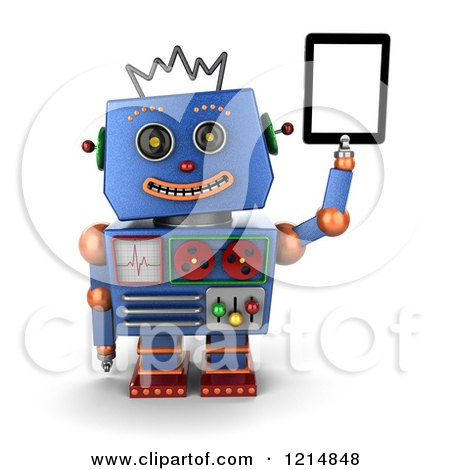 Clipart of a 3d Vintage Blue Robot Holding up a Tablet Computer - Royalty Free CGI Illustration by stockillustrations