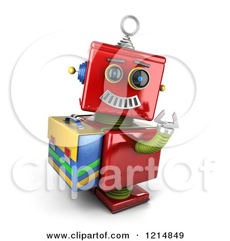 Clipart of a 3d Vintage Red Robot Waving and Wearing a Satchel - Royalty Free CGI Illustration by stockillustrations