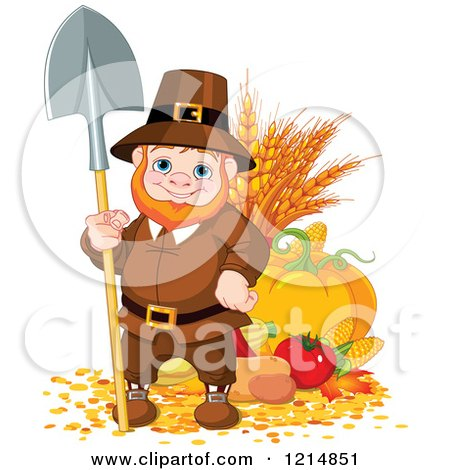 Clipart of a Happy Pilgrim Gnome with Autumn Harvest Vegetables - Royalty Free Vector Illustration by Pushkin