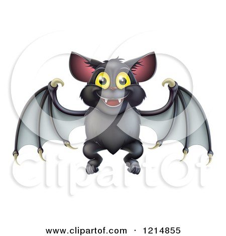 Clipart of a Cute Happy Halloween Vampire Bat - Royalty Free Vector Illustration by AtStockIllustration