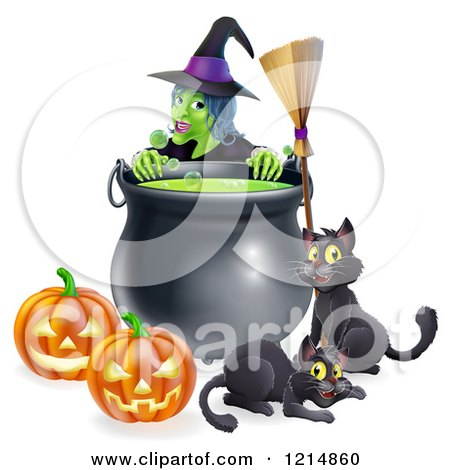 Clipart of a Green Witch over a Cauldron with Black Cats a Broomstick and Jackolanterns - Royalty Free Vector Illustration by AtStockIllustration