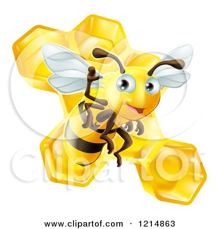 Clipart of a Friendly Cute Bee Waving over Honeycombs - Royalty Free Vector Illustration by AtStockIllustration
