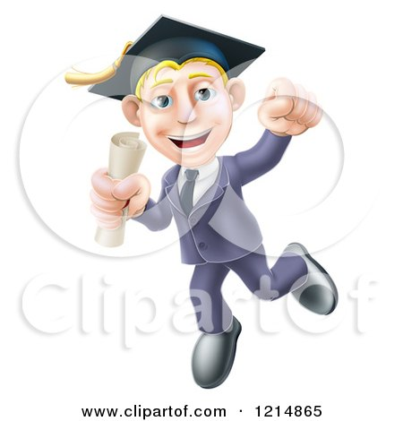 Clipart of a Happy Blond Graduate Business Man Jumping Wearing a Graduation Cap and Holding a Diploma 2 - Royalty Free Vector Illustration by AtStockIllustration