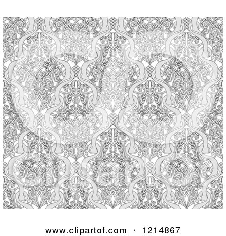 Clipart of a Grayscale Seamless Art Nouveau Vintage Pattern - Royalty Free Vector Illustration by AtStockIllustration